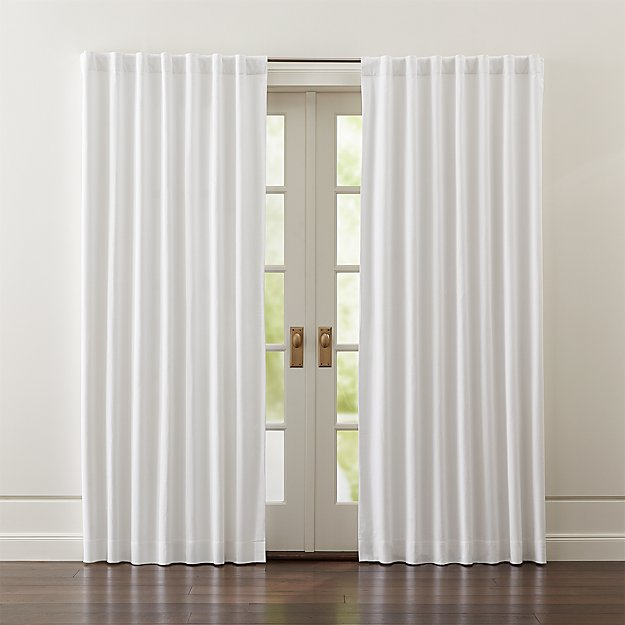 wallace white blackout curtains crate and barrel. Black Bedroom Furniture Sets. Home Design Ideas