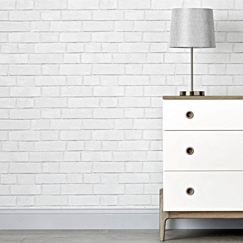 Tempaper Brick White Removable Wallpaper