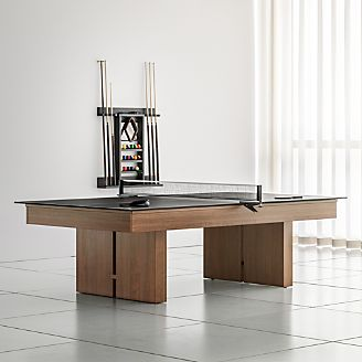 Ordinaire Crate And Barrel Walnut Pool Table With Black Table Tennis Conversion Kit