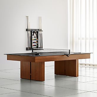 Crate And Barrel Walnut Pool Table With Black Table Tennis Conversion Kit