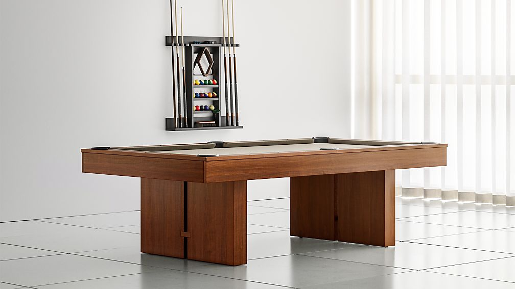 Crate And Barrel Walnut Pool Table With Cue Rack And Accessories