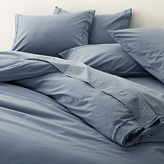 Washed Organic Cotton Blue Duvet Covers and Pillow Shams