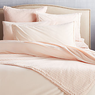 Washed Organic Cotton Blush Coverlets and Pillow Shams