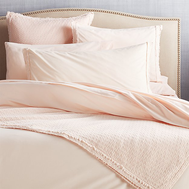 Washed Organic Cotton Blush Coverlets and Pillow Shams - Image 1 of 5