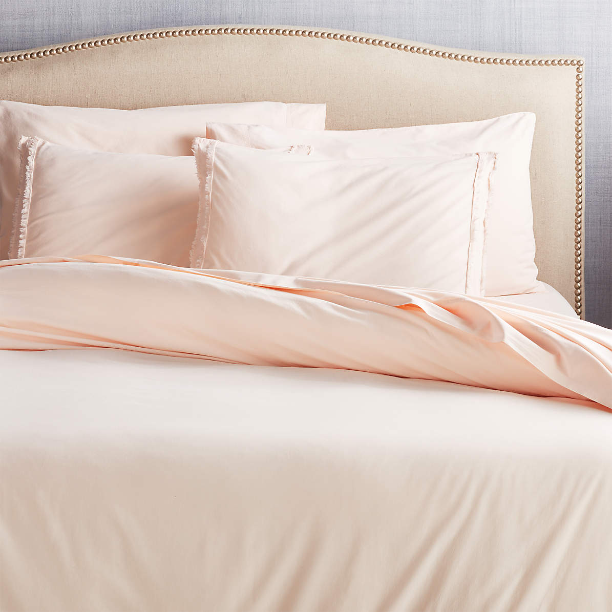 Washed Organic Cotton Blush Duvet Cover And Pillow Shams Crate And Barrel