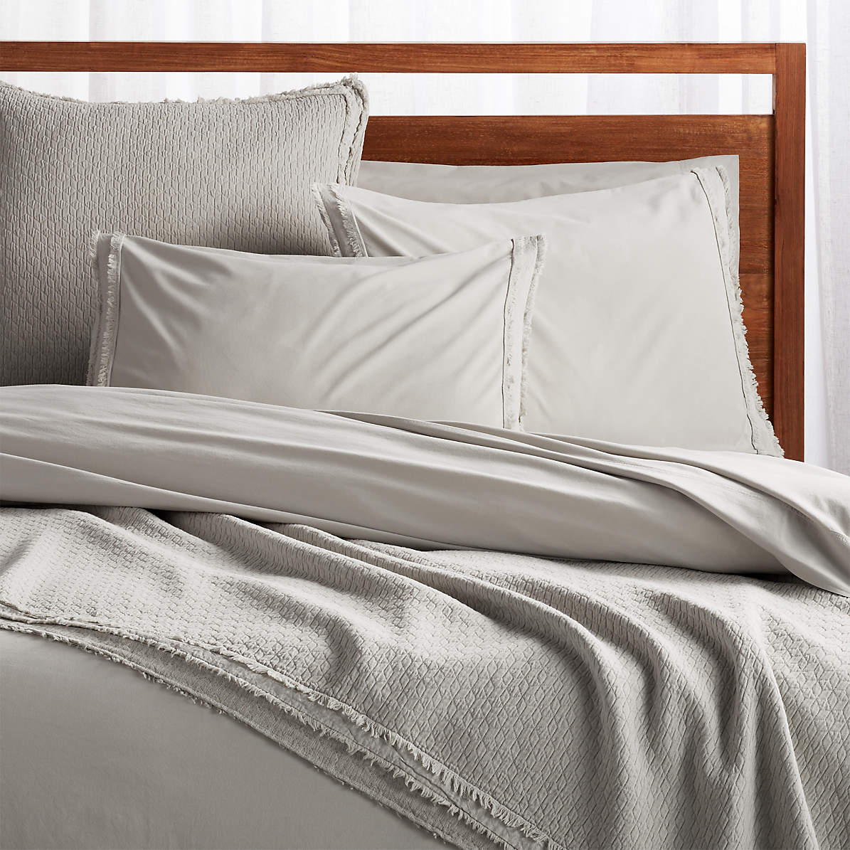 Washed Organic Cotton Grey Coverlets And Pillow Shams Crate And Barrel Canada