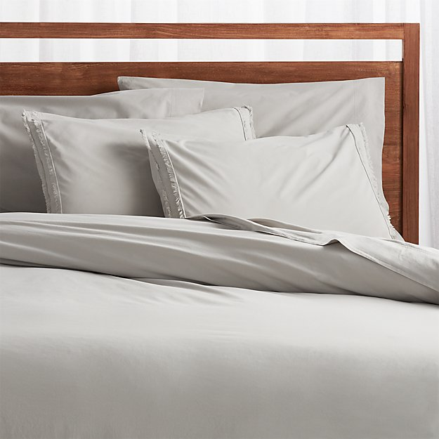 Washed Organic Cotton Grey Duvet Covers and Pillow Shams - Image 1 of 6