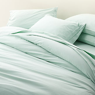 Washed Organic Cotton Light Blue Duvet Covers and Pillow Shams