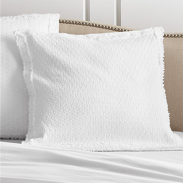 Washed Organic Cotton White Euro Sham - Image 1 of 4