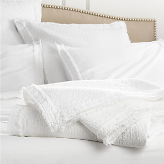 Washed Organic Cotton White Coverlets and Euro Sham