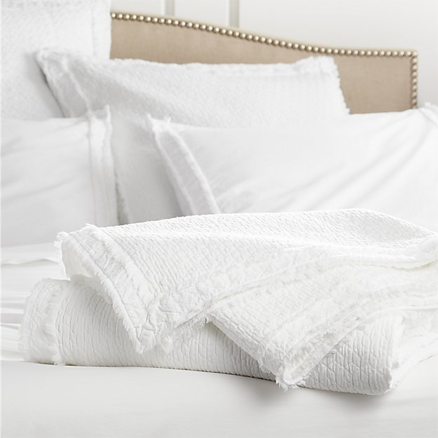 Washed Organic Cotton White King Coverlet - Image 1 of 3