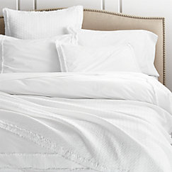 Washed Organic Cotton White Duvet Covers And Pillow Shams Crate