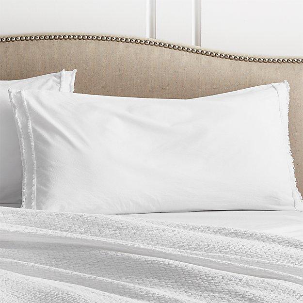 Washed Organic Cotton White King Sham - Image 1 of 10