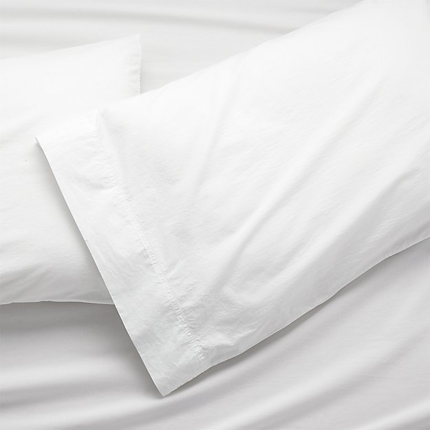 Washed Organic Cotton White King Pillow Cases, Set of 2 - Image 1 of 6