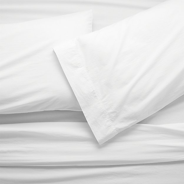 Washed Organic Cotton White Full Sheet Set - Image 1 of 9
