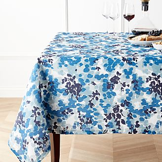 Water Petals Linen Blue Floral Tablecloth