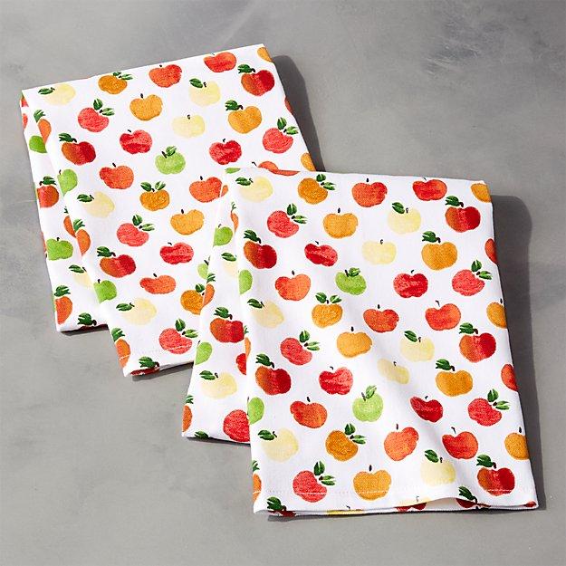 Watercolor Apples Dishtowels, Set of 2