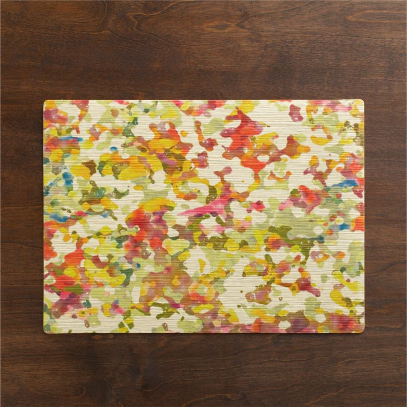 A dreamy, multicolored abstract is printed with a soft watercolor effect on a textured background of durable, easy-clean PVC.<br /><br /><NEWTAG/><ul><li>100% PVC</li><li>Clean with a damp cloth</li><li>Made in USA</li></ul>
