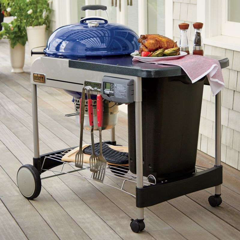 Weber Blue Performer Deluxe Charcoal Grill Crate And Barrel