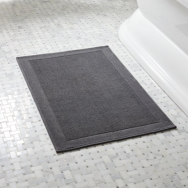 Westport Grey Bath Rug Crate And Barrel - Black white bath rug for bathroom decorating ideas