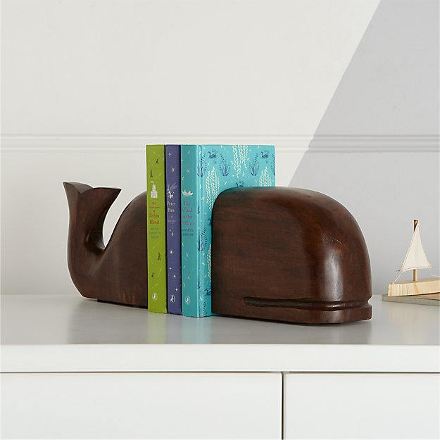 Excellent Whale Wooden Bookends + Reviews | Crate and Barrel GO41