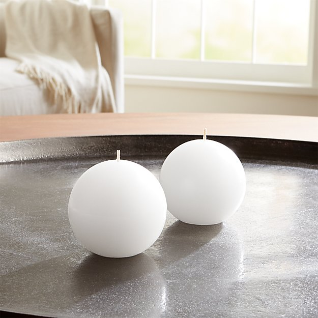 White Ball Candles, Set of 2 - Image 1 of 4