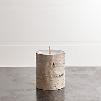 "White Birch 3""x4"" Pillar with Motion Flameless Candle"