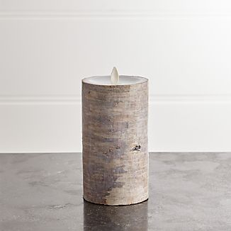 "White Birch 3""x6"" Pillar with Motion Flameless Candle"