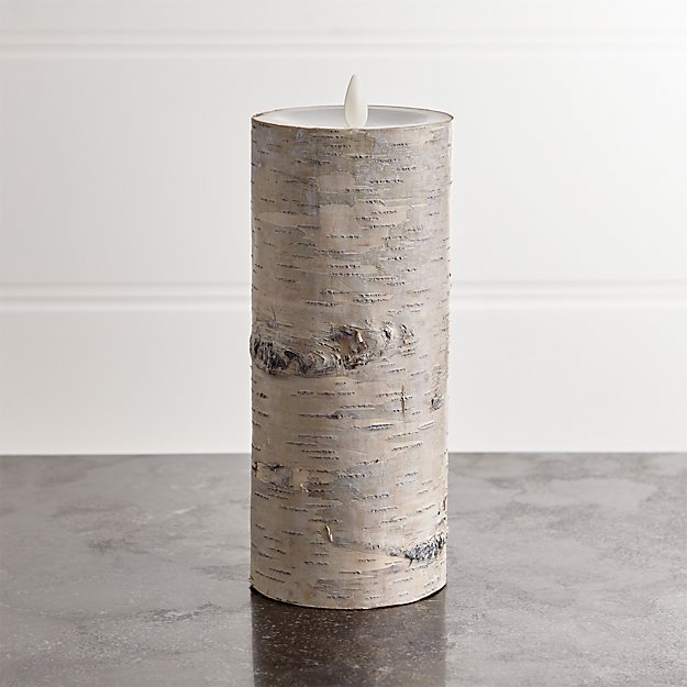 """White Birch 3""""x8"""" Pillar with Motion Flameless Candle"""