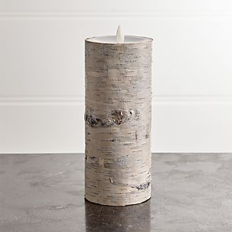 "White Birch 3""x8"" Pillar with Motion Flameless Candle"