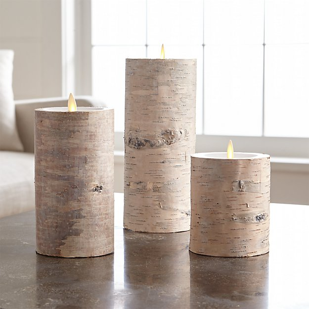 White Birch Flameless Pillar with Motion Flameless Candles