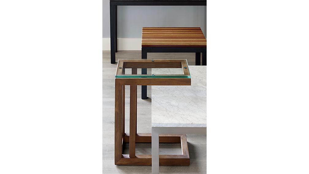 Parsons Reclaimed Wood Top/ Dark Steel Base 20x24 End Table