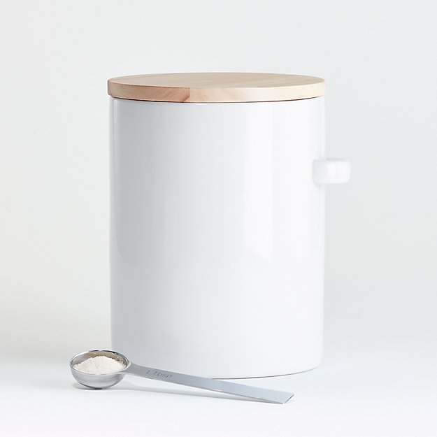 Large White Canister with Scoop. - Image 1 of 2