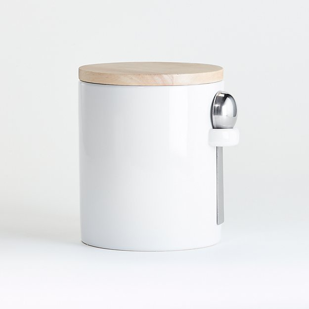 Medium White Canister with Scoop - Image 1 of 2