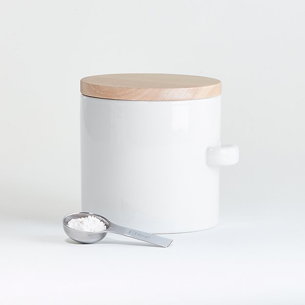 Small White Canister with Scoop - Image 1 of 2