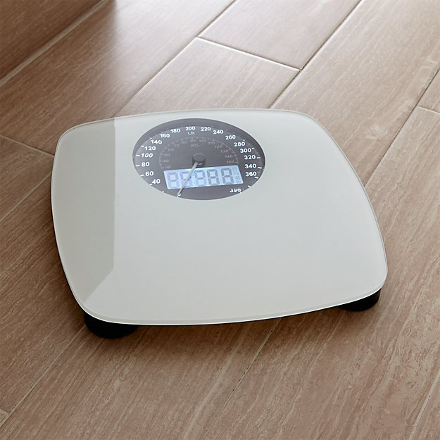 digital white bathroom scale | crate and barrel