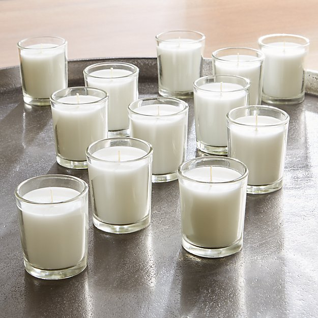 White Glass Votive Candles, Set of 12 - Image 1 of 4