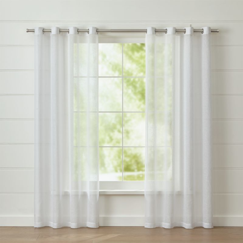 White linen sheer curtain panel with grommets crate and for Drapes over crib
