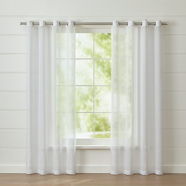 White Linen Sheer Curtain Panel with Grommets - Image 1 of 4