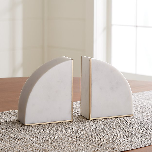 White Marble Bookends, Set of 2 - Image 1 of 7