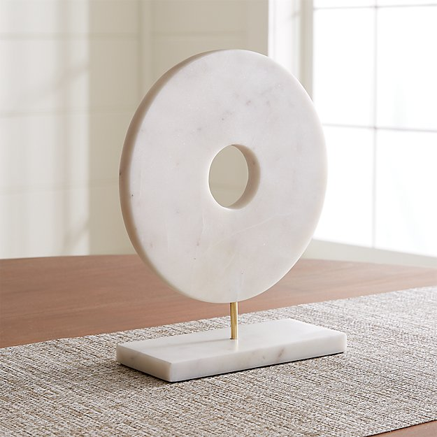 White Marble Circle on Stand - Image 1 of 10