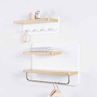White and Natural Wood Shelf With Rod