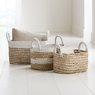 White Nesting Baskets Set of 3