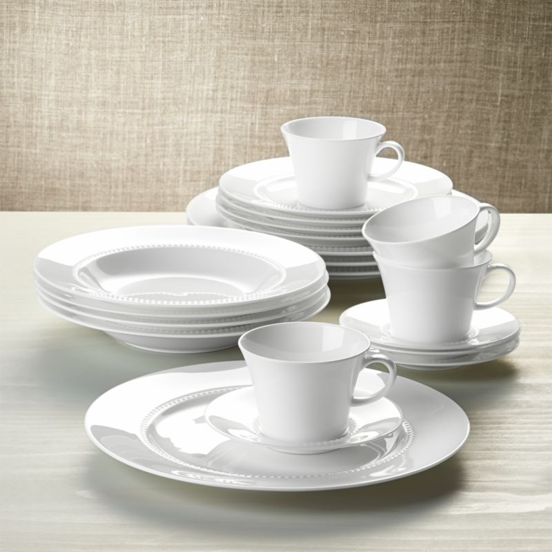 & White Pearl 20-Piece Dinnerware Set + Reviews | Crate and Barrel