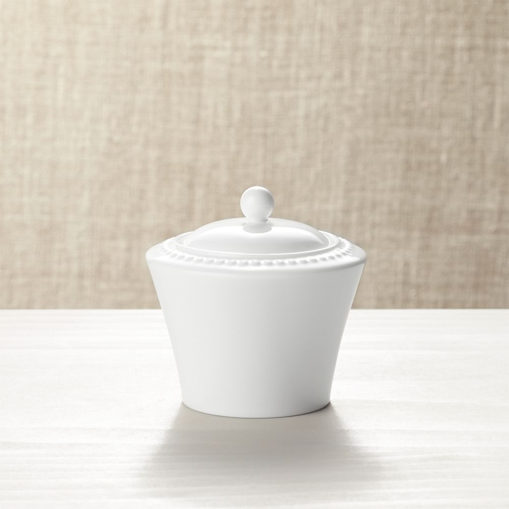 White Pearl Sugar Bowl with Lid - Crate and Barrel