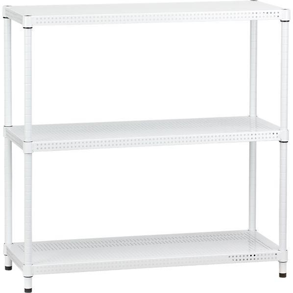 Perforated White Three-Shelf Unit