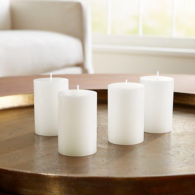 "2""x3"" White Pillar Candles, Set of 4 - Image 1 of 4"