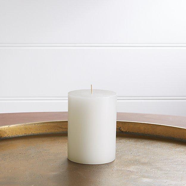 "3""x4"" White Pillar Candle - Image 1 of 10"