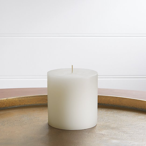 "4""x4"" White Pillar Candle - Image 1 of 10"