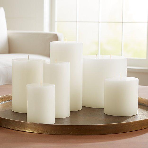 White Pillar Candles - Image 1 of 9